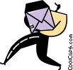 Vector Clip Art picture  of a Postman Mailman