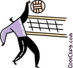 Vector Clip Art picture  of a Man spiking volleyball