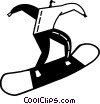 Vector Clipart illustration  of a Snowboarding