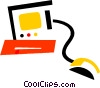 Vector Clipart image  of a Computer Desktop Systems