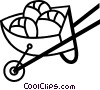 Vector Clip Art graphic  of a Wheelbarrows