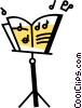 Vector Clip Art picture  of a Sheet Music and Stands