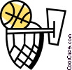 Vector Clipart graphic  of a Basketballs and Nets