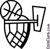 Vector Clipart image  of a Basketballs and Nets
