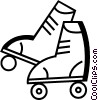 Vector Clip Art graphic  of a Rollerblading