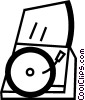 Vector Clipart graphic  of a Contemporary Record Players