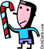 boy with a candy cane Vector Clipart picture