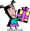 Vector Clipart graphic  of a girl with a present