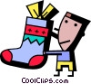 Vector Clip Art image  of a boy with his stocking
