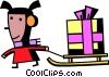 girl pulling a sleigh with her gift on it Vector Clip Art picture