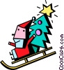 Santa on a sled with a Christmas tree Vector Clip Art picture