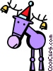 reindeer with bells in his antlers Vector Clipart graphic