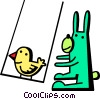 Vector Clip Art graphic  of a Easter bunny pushing a chic on