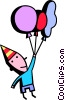 birthday boy and his balloons Vector Clip Art graphic