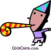 Vector Clipart image  of a birthday boy and noise maker
