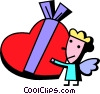 Cupid with Valentines day chocolates Vector Clip Art graphic