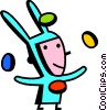 boy in a bunny costume juggling Easter eggs Vector Clipart illustration