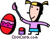 girl painting an Easter Vector Clip Art picture
