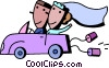 Newlyweds driving off to their honeymoon Vector Clipart picture