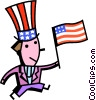 Uncle Sam with American flag Vector Clipart illustration