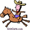Vector Clip Art image  of a Cowboys