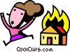 Vector Clipart graphic  of a Woman running from house on