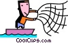 Vector Clipart graphic  of a Fisherman throwing net