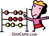 girl with a abacus Vector Clip Art graphic