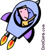 Vector Clip Art graphic  of a Man flying in rocket