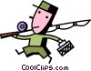 Man on his way to his fishing hole Vector Clip Art picture