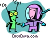 Astronaut shaking hands with alien Vector Clipart illustration