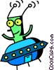 Vector Clip Art picture  of an Alien in flying saucer