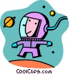 Astronaut in space Vector Clip Art graphic