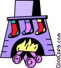 Vector Clip Art image  of a stocking hung by the fireplace