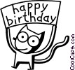 Vector Clipart graphic  of a happy birthday cat