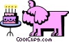 dog blowing out the candles on his birthday cake Vector Clip Art picture