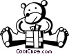 bear opening his birthday gift Vector Clipart image