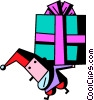 Vector Clip Art graphic  of a Santa carrying a heavy present