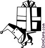 Vector Clip Art image  of a Santa carrying a heavy present