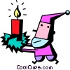 Vector Clip Art image  of a Santa carrying a candle