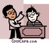 Vector Clipart picture  of a Doing Paperwork