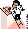 Man on ladder hammering nail Vector Clip Art picture