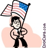 Man waving the American flag Vector Clipart graphic