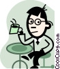 Vector Clip Art graphic  of a man having coffee