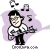 Vector Clip Art graphic  of a man playing a guitar