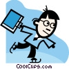 Vector Clipart picture  of a businessman skating with his