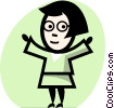 Vector Clipart image  of a women with open arms