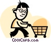 Vector Clipart graphic  of a man grocery shopping