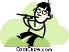 Vector Clip Art image  of a man playing the flute