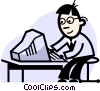 businessman working on his computer Vector Clipart image